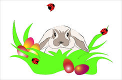 Kanin i gräset royaltyfri illustrationer