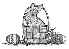 Kanin kanin, korg, easter illustration, teckning, gravyr, linje konst Stock Illustrationer