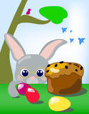 Kanin och ägg under illustrationen för vårträdvektor för påsk Royaltyfri Bild