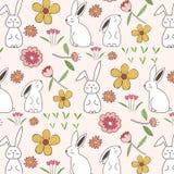 Kanin- och blommamodellbakgrund vektor illustrationer