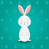 Kanin på turkosägg bakgrund, vektorillustration Arkivfoton