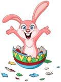 Kanin som kläcker från påskägget royaltyfri illustrationer