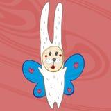 Kanin som kläs som en fjäril Royaltyfri Foto