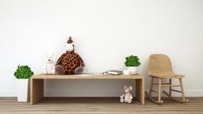 Kanin tjaller och tolkningen för giraffdockaunge room-3d Arkivfoto