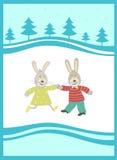 Kaninchen auf dem Hintergrund des neuen Jahres Lizenzfreie Stockbilder