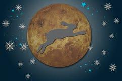 Kaninchen auf dem Mond von aufbereitetem papercraft Stockfotografie