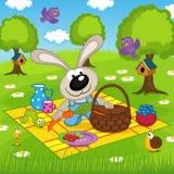 Kaninchen auf Picknick im Park vektor abbildung