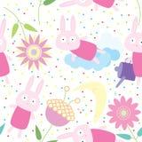 Kaninchen-Blumen-nahtloses Muster Lizenzfreie Stockfotografie