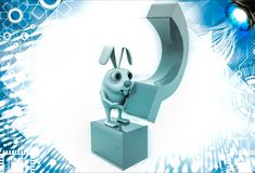 Kaninchen 3d, das blaue Fragezeichenillustration hält Lizenzfreies Stockbild