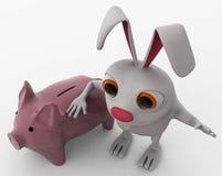 Kaninchen 3d mit piggybank Konzept Lizenzfreie Stockfotos