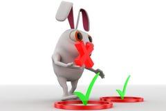 Kaninchen 3d mit rechtem Symbol und falsches Konzept des Symbols in der Hand halten Stockbild