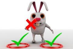 Kaninchen 3d mit rechtem Symbol und falsches Konzept des Symbols in der Hand halten Lizenzfreies Stockfoto