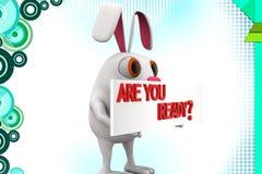 Kaninchen 3d sind Sie vorbereiten Illustration Stockfoto