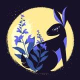 Kaninchen der schwarzen Magie mit salvia im Hintergrund des Mondes Auch im corel abgehobenen Betrag Stockfoto