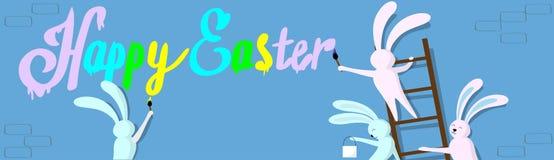 Kaninchen-Gruppe, die auf Bockleiter-Griff-Bürsten-Farben-glücklicher Ostern-Wand-Feiertags-Fahne steht Stockfotografie