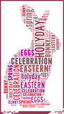 Kaninchen im Ostfeiertags-Wort-Wolken-Konzept lizenzfreie stockfotos