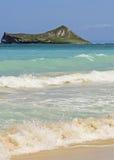 Kaninchen-Insel vom Waimanalo Strand Stockbilder