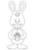Kaninchen mit einem Geschenk, Schwarzweiss Lizenzfreies Stockbild