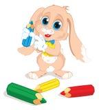 Kaninchen mit farbigen Bleistiften Lizenzfreie Stockbilder