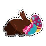 Kaninchen mit gemalter Ostereikarte Lizenzfreie Stockfotos