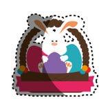Kaninchen mit gemalter Ostereikarte Lizenzfreies Stockbild