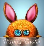 Kaninchen mit glücklicher Ostern-Grußkarte Stockbild
