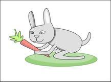 Kaninchen mit Karotte Lizenzfreies Stockfoto