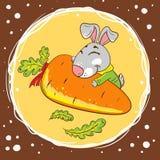 Kaninchen mit Karotte auf einem braunen Hintergrund stock abbildung
