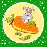 Kaninchen mit Karotte auf einem grünen Hintergrund stock abbildung