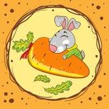 Kaninchen mit Karotte auf einem orange Hintergrund vektor abbildung
