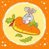 Kaninchen mit Karotte auf einem orange Hintergrund lizenzfreie abbildung