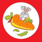 Kaninchen mit Karotte auf einem roten Hintergrund vektor abbildung