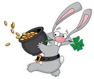Kaninchen mit Klee Stockfotos