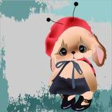 Kaninchen Teddybär in einem Marienkäferkostüm Lizenzfreie Stockbilder