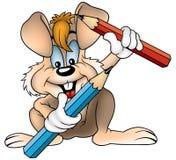 Kaninchen und 2 Zeichenstifte Lizenzfreie Stockfotografie