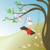 Kaninchen und Baum Stockbild