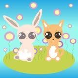 Kaninchen und Fuchs Stockfotos