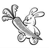 Kaninchen und Karotte Stockfoto