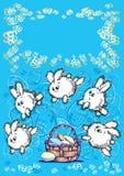 Kaninchen und Korb Stockfotografie