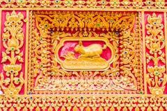 Kaninchen-Wandskulptur im thailändischen Tempel Lizenzfreie Stockfotos