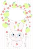 Kaninchenbaby-Erdbeerapfel scherzt Menü Lizenzfreie Stockfotos