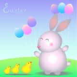 Kaninchenbaby und kleine Hühner auf dem Rasen Stockfoto