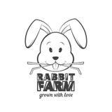 Kaninchenbauernhof-Logodesign Vektorillustration des Kaninchens Gras essend lizenzfreie abbildung