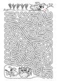 Kaninchenlabyrinth für Kinder in Schwarzweiss Lizenzfreies Stockbild