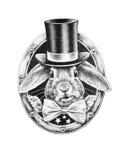 Kaninchenporträt im Hut Stockfotografie