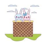 Kaninchentier des glücklichen Paars innerhalb der Fessel lizenzfreie abbildung