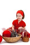 kanineaster flicka little Arkivbilder