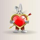 Kaninen rymmer en hjärta med en pil royaltyfri illustrationer