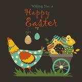 Kaniner, höna och easter ägg Royaltyfri Bild