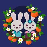 Kaniner i Hanbok inramade vid persimoner och blommor royaltyfri illustrationer